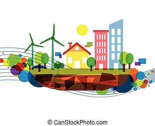 Colorful wind energy illustration