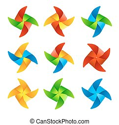 Colorful Wind Mill Set. Vector
