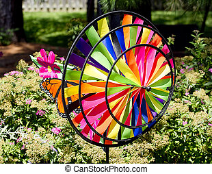 Colorful Wind Spinner in Garden