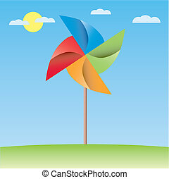 colorful windmill origami