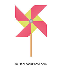 Colorful windmill - pin, fun, red, toy, air, icon, wind,...