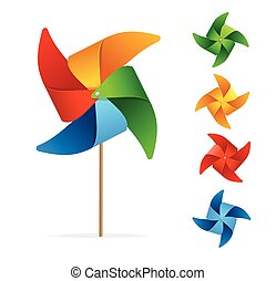 Colorful Windmill Set. Vector - Colorful Windmill Set....