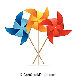 Colorful Windmill Set. Vector