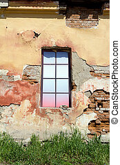colorful window in the old building