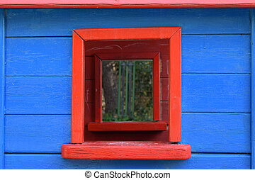 colorful window toy house