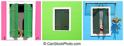set with colorful windows from Burano village on venetian lagoon, Veneto, Italy, Europe