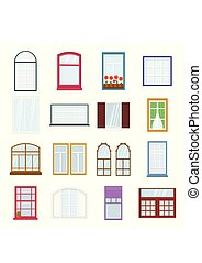 Colorful windows set. Collection of house construction. Interior windows of various forms in flat style. Architecture design outdoor or exterior view, building and home theme.