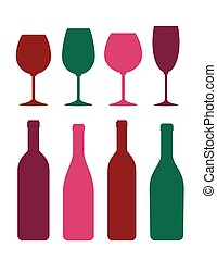colorful wine bottle and glass set
