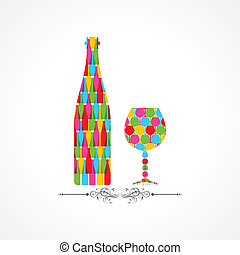 Colorful wine bottle and glass