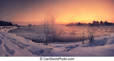 Colorful winter dawn on the lake