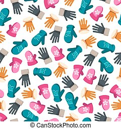 Colorful winter mittens seamless pattern