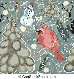 Colorful Winter Pattern with red bird of Cardinal and Snowman. Seamless Pattern.