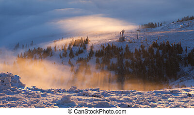 Colorful winter sunrise in the mountains.