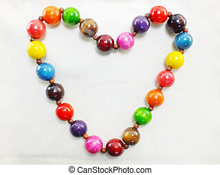 colorful wodden beads heart shaped