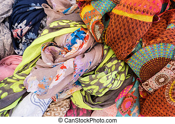 Colorful woman clothes close-up.