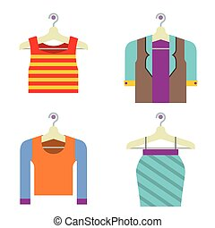 Colorful Woman Clothes On Hanger Vector Illustration.