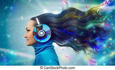 Colorful women in headphones