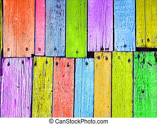 Colorful wood board nailed