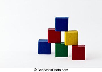 colorful wood building blocks stack