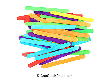 colorful wood ice-cream stick on isolated