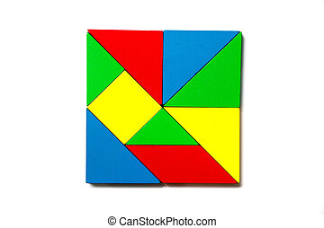Colorful wood toy puzzle in geometric square shape on white background