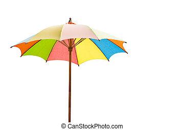 colorful wood umbrella isolated on white