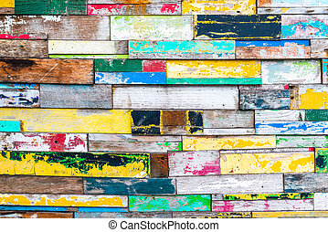 Colorful wood wall texture