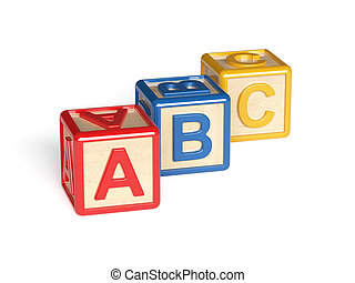 Colorful wooden alphabet blocks isolated on white background