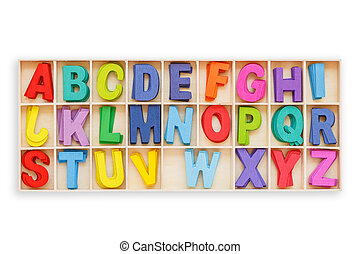 Colorful wooden alphabet in square box. Top view. Isolated on white. Saved with clipping path