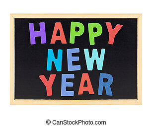 wooden alphabet letter Happy new year on blackboard isolated on white background