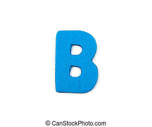 Colorful wooden alphabet letter on white background ,B