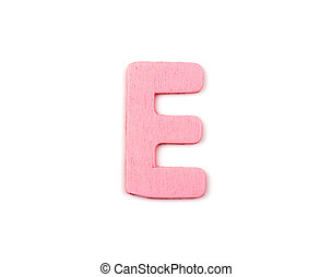 Colorful wooden alphabet letter on white background ,E