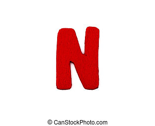 Colorful wooden alphabet letter on white background ,N
