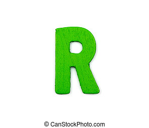 Colorful wooden alphabet letter on white background ,R