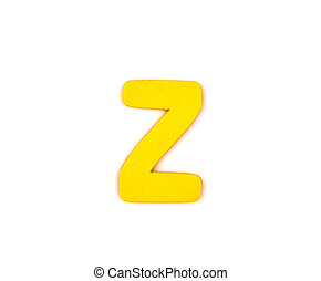 Colorful wooden alphabet letter on white background ,Z