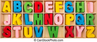 Colorful wooden alphabet letters set
