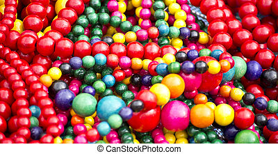 colorful wooden beads at the fair