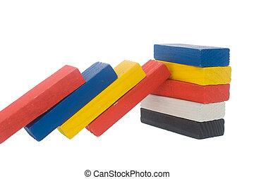 colorful wooden block - Arrangement of color wooden block