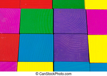 Colorful wooden blocks background, top view. creative photo.