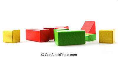 Colorful Wooden Blocks Isolated On White Background