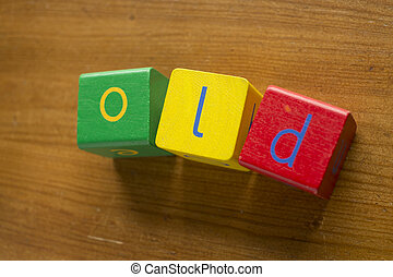 Colorful wooden blocks spelling the