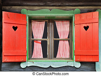 Chalet Window - Colorful Wooden Chalet Window