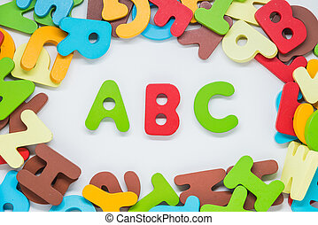 Colorful wooden charactor with white background and ABC word in the middle