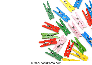 colorful wooden clothespin isolated on white