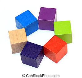 Colorful wooden cubes isolated on white background
