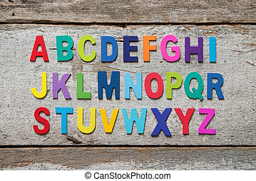 Colorful wooden English alphabet set
