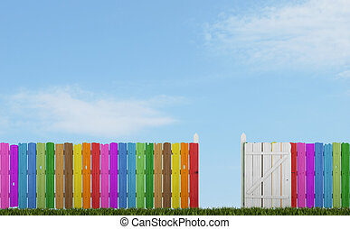 Colorful wooden fence with open gate on grass - rendering