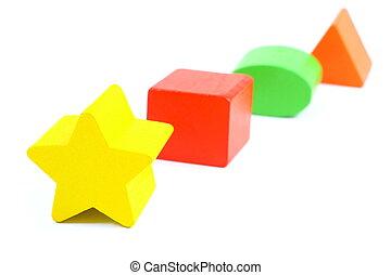 Colorful wooden geometric blocks