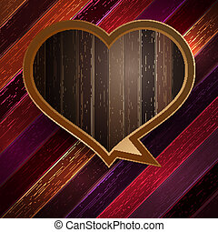 Colorful wooden heart on wood. EPS 10