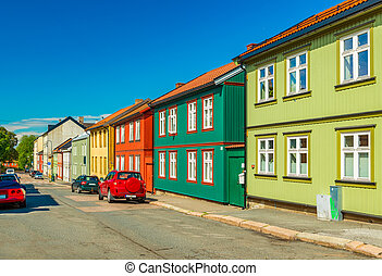 Colorful wooden houses on a street of Oslo, Norway
